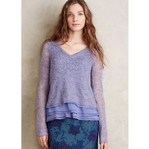 Anthropologie • Knitted&Knotted Chiffon Hem V Neck